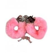 Håndjern med pels, rosa